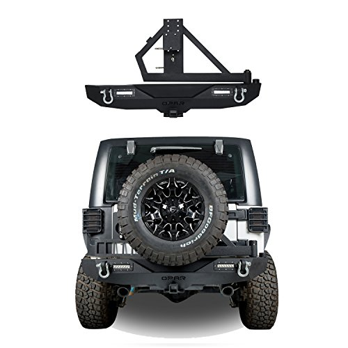 Opar Different Trail Rear Bumper Model A w/ 2x 18W LED Accent Lights & Tire Carrier for 07-18 Jeep Wrangler & Wrangler Unlimited JK