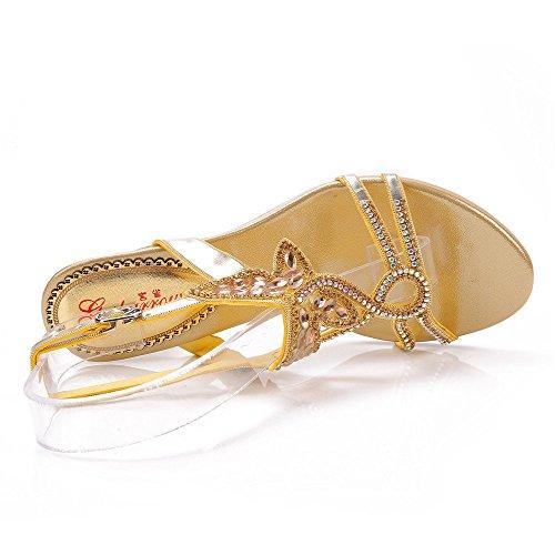 Unicrystal mujer Dorado tacón Zapatos de dorado zrzwqpHWx1