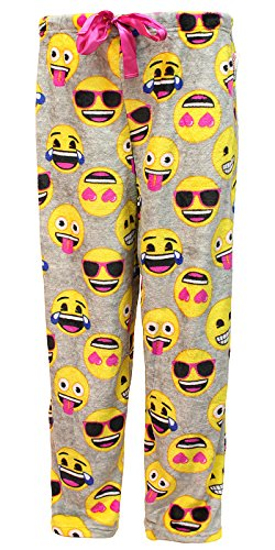 Fashion Emoji All Over Gray Super Minky Fleece Sleep Pants XXX-Large (Smiley Face Lounge Pants)