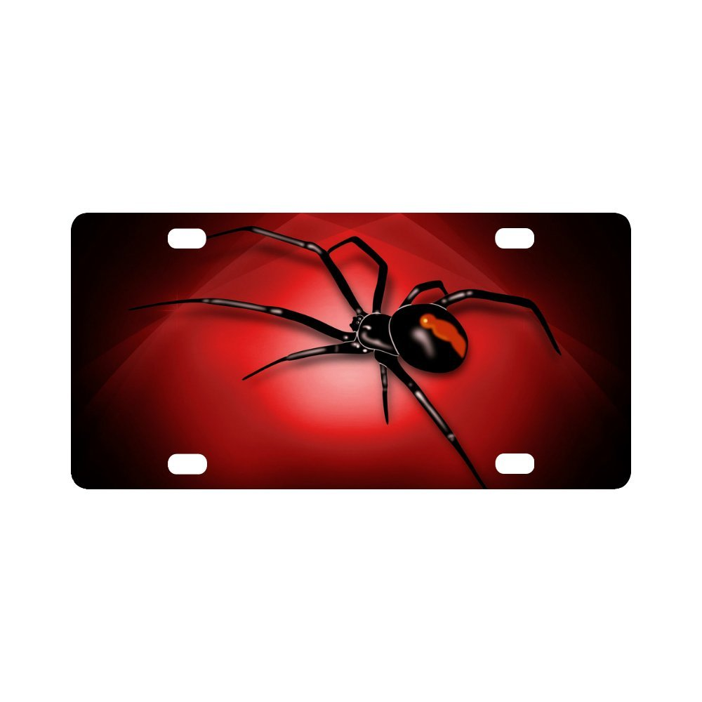 Black Widow Spider Pattern Classic Metal License Plate Auto Car Tag 12 X 6