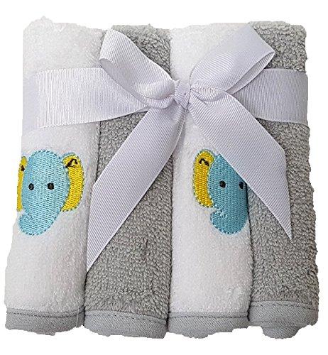 Lavado 4 unidades Baby Manopla Toallas de mano 100% algodón 4Stück - Color Blanco/Gris: Amazon.es: Bebé
