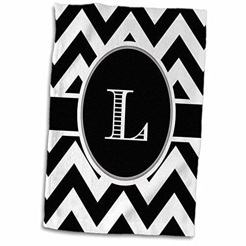 (3D Rose Black and White Chevron Monogram Initial L Hand Towel, 15