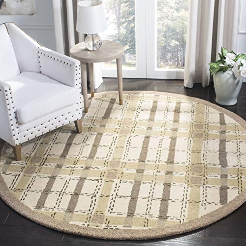 Safavieh Martha Stewart Collection MSR3613C Premium Wool and Viscose Color Weave Plaid Sharkey Grey Area Rug 6 Diameter