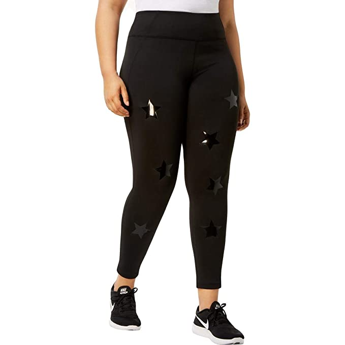 86bc63be2caa4 Amazon.com  Calvin Klein Womens Plus Star Print High Waisted Athletic Leggings  Black 2X  Clothing