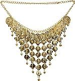 Parure de bijoux orientaux comprenant collier et boucles d'oreilles Doré