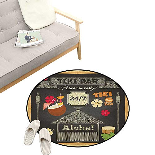 - Hawaii Round Rugs ,Traditional Tiki Bar Poster Design with Coconut Drink and Aloha Slogan Bamboo Frame, Design Home Decoration 47