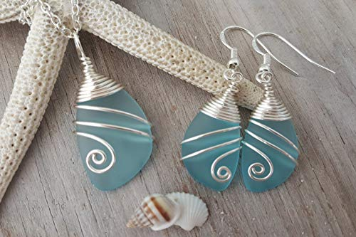 (Handmade in Hawaii, Wire wrapped turquoise bay blue sea glass necklace + earrings jewelry set,
