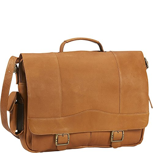 David King Leather Porthole Briefcase in Tan (King David Leather Distressed)