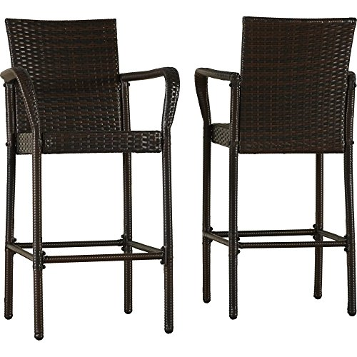 2 Pieces Patio Barstools with Arms and Full Back Style Made of Resin Wicker in Brown Finish (Wicker Bar Style Stools)
