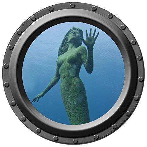 Mermaid Statue Porthole Wall Decal - 12