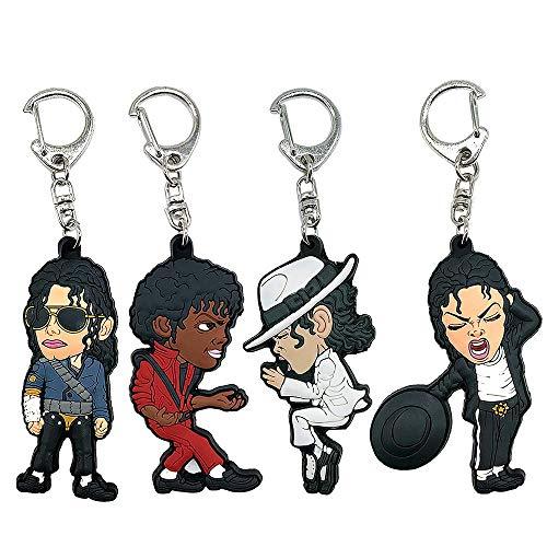 Gn2u MJ Michael Jackson Keychain Rubber Billie Jean Smooth Criminal Dangerous Tour Thriller Keychain pack of 4 (Michael Jackson Backpack)