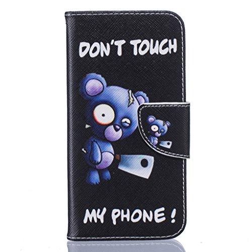 Trumpshop Smartphone Carcasa Funda Protección para Samsung Galaxy S7 (5,1 Pulgada) [Dont Touch My Phone (brujo)] PU Cuero Caja Protector Billetera con Cierre magnético Choque Absorción Dont Touch My Phone (cuchillo)