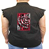 Juiceclouds Religious Sleeveless Denim Vest I'm The Christian The Devil Warned You About (Black, XL)