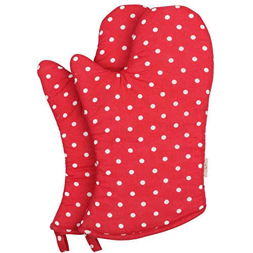 Neoviva Cotton Coated Oven Mitt for Adult, Pack of 2, Polka Dots Lollipop ()