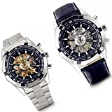 Lancardo Skeleton Style Dial Automatic Steampunk Mechanical Mens Boys Wrist Watches (Pack of 2)