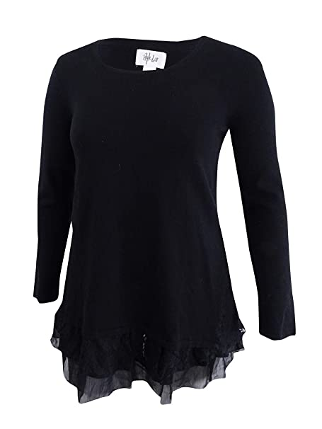 284b5afb262d7 Image Unavailable. Image not available for. Color  Style Co Plus Size Black  Scoop Neck Lace Trim ...