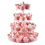 Boxalls Cupcake Tower, 4 Tier 15 Inches Round Shape Wedding Party Tree Tower Thick Quality Acrylic Cupcake Display Stand (Transparent)