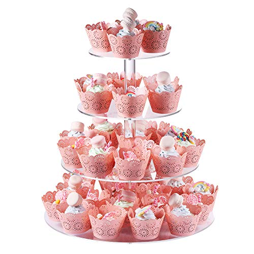Cupcake Stand, Boxalls 4 Tier 15 Inches Round Shape Wedding Party Tree Tower Thick Quality Acrylic Cupcake Display Stand (Transparent)
