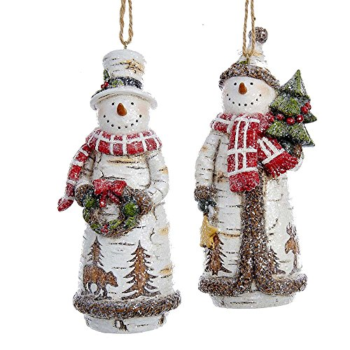 Kurt Adler 5-Inch Birch Snowman Holding Tree and Wreath Ornament Set of 2