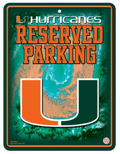 Rico NCAA Miami Hurricanes 8-Inch by 11-Inch Metal Parking Sign Décor - Ncaa Miami Hurricanes Street Sign
