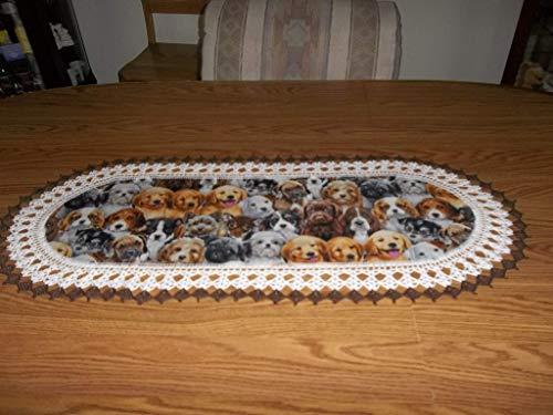 Butterflies Dresser Scarf (Table Runner, Dogs Puppies Crocheted, Fabric Center Crocheted Edge Oval Centerpiece Handmade Dresser Scarf)