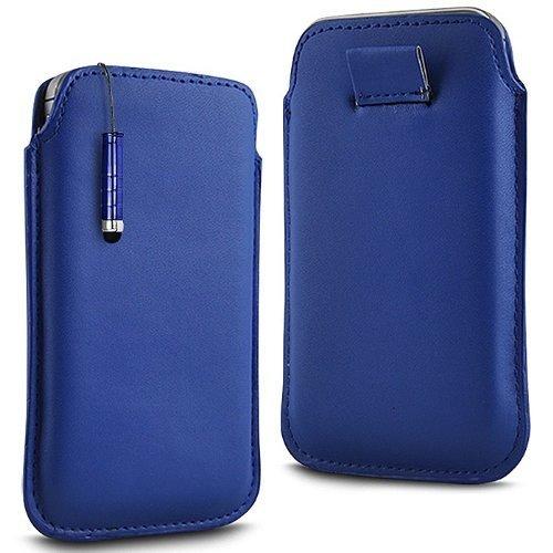 N4U Online - Apple Iphone 4 Prime PU souple Pull en cuir flip Tab Housse Etui & Mini Stylet - Bleu Foncé