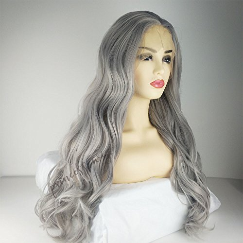 Princesswig Platinum Hight Temperature Long Wavy Silver Synthetic Lace Front Wig Glueless Ear To Ear Lace Frontal Full Head Replacement Hair Wigs For Women Girls Cosplay Daily Use (Halloween Drag Makeup)