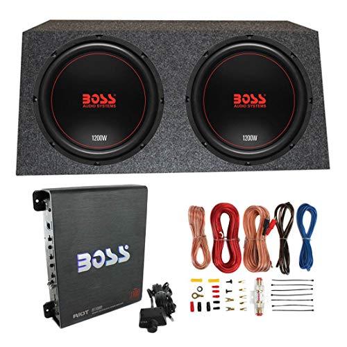 "Boss Chaos Exxtreme 12"" 1200W 4 Ohm Subwoofer (Pair) w/Box, Mono Amp & Wiring"