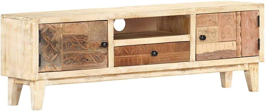 pedkit Mueble TV Vintage con 2 Puertas 1 Caj/ón y 1 Compartimento Mueble para la TV Mesa Television Sal/ón de Madera Maciza Reciclada 120x30x40 cm