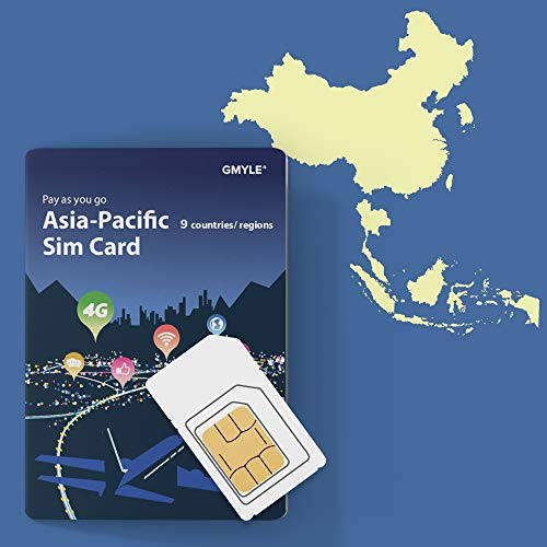 China, Thailand, Korea, Singapore etc. 9 Countries Prepaid SIM Card 5GB / 14 Days, GMYLE Asia 4G LTE/3G Internet Data, Top up Anytime and Anywhere, Support Facebook Instagram YouTube in China (Best Data Prepaid Plan Singapore)