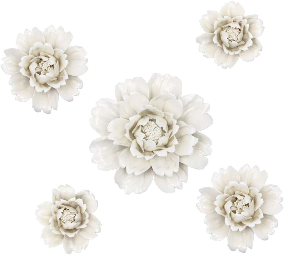 LSME 5 Pack Ceramic Flower Wall Decoration 3D White Artificial Peony Flower Wall Hanging Art for Bedroom Living Room Home Farmhouse Hallway Kitchen Dining Room