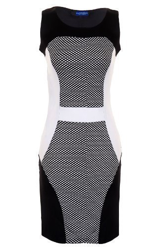 Saphir Damen Strukturierte Polka DOR Panels Kontrast Slim Effekt Damen Party Figurbetont Kleid Schwarz mstpAtbHCA