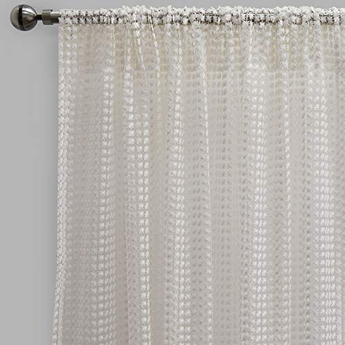 Rodeo Home Clover Curtain Panel 54x96 inchs,Rod Pocket, Sheer Panels, Set of 2 (White, 54x96)