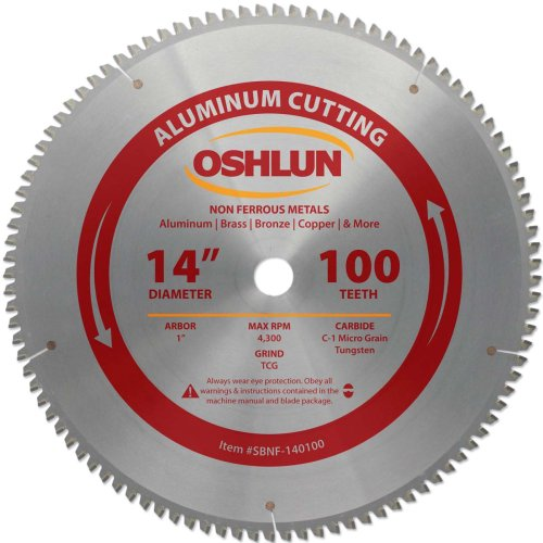 Oshlun SBNF-140100 14-Inch 100 Tooth TCG Saw Blade with 1-Inch Arbor for Aluminum and Non Ferrous Metals ()