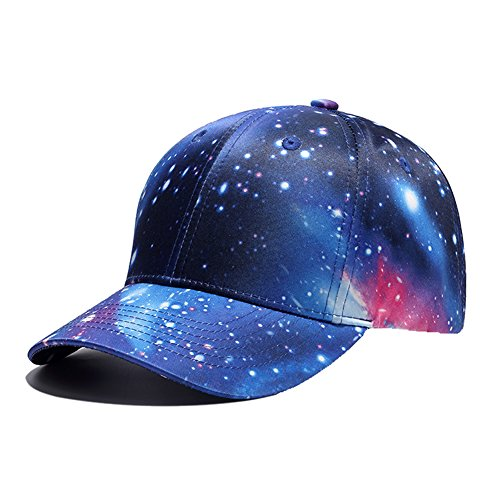 (Galaxy 3D Printed Adjustable Baseball Cap,Unisex Hip Hop Snapback Star Sky Space Plaid Hat Blue)