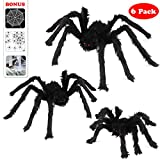Halloween Spider Decorations, Aitey Halloween Scary Giant Spider Set with 3 Large Fake Spider, Spider Web, 20 Small Plastic Spiders, Cobwebs for Window Wall and Yard Outdoor Halloween Decor