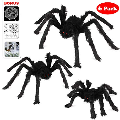 Scary Spiders For Halloween (Halloween Spider Decorations, Aitey Halloween Scary Giant Spider Set with 3 Large Fake Spider, Spider Web, 20 Small Plastic Spiders, Cobwebs for Window Wall and Yard Outdoor Halloween)