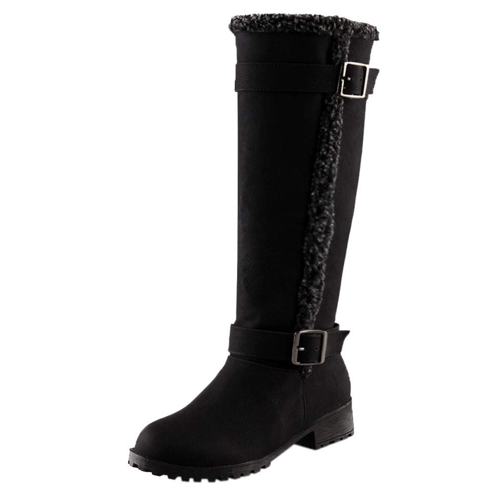 Women Knee High Boots Suede Flat Long Boots Winter Warm Snow Boots Belt Buckle Shoes Comfortable Plush Boots