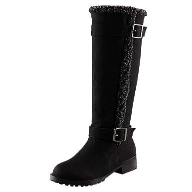 524e7952387 DENER❤ Women Ladies Knee High Boots with Heels, Buckles Short ...
