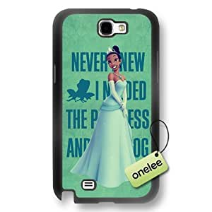 Disney Cartoon Princess and the frog Soft Rubber Phone Case for Samsung Galaxy Note 2 - Disney Princess Tiana Samsung Note 2 Case - Black