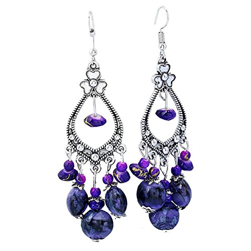 Bohemia Vintage Beaded Earrings For Women Beaded Tassel Chandelier Drop Dangle ()