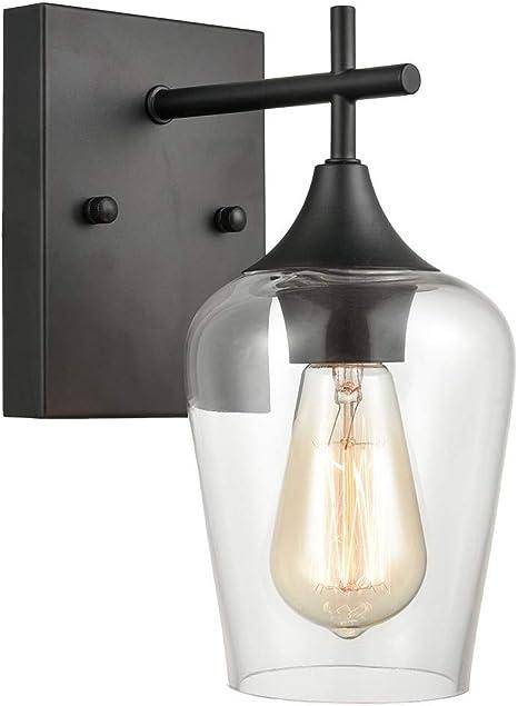 Matte Black Simplicity 1 Light Clear Glass Wall Sconce Industrial Bathroom Vanity Lighting Amazon Com