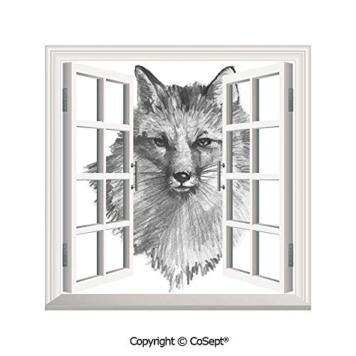 SCOXIXI Open Window Wall Mural,Sketchy Fox Portrait Hunting Predator Vixen Vulpine Nature Inspired Hand Drawing Decorative,for Living Room(25.86x22.63 inch) -