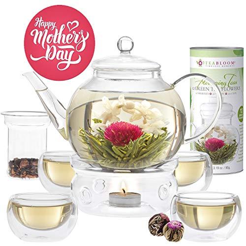 Teabloom Blooming Tea Set - Stovetop Safe Glass Teapot with 12 Flowering Teas, Tea Warmer, 4 Double Wall Teacups & Removable Glass Infuser for Loose Leaf Tea - Complete Flowering Tea Gift Set