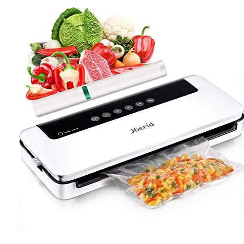 Upgraded Food Vacuum Sealer Machine,Joerid Food Save Automatic/Manual Vacuum Air Sealing System with Dry&Moist Modes Led Indicator Lights& Started Kit of Rolls&Hose for Home&Commercial