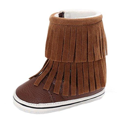 TPulling Mode Junge Und Mädchen Herbst Und Winter Quaste Weichen Unteren Warmen Stiefel Lässige Schuhe Braun