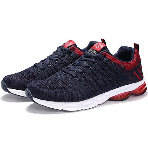 Hombre Transpirables Y Libre Wealsex Running Gimnasio Para Rojo Casual Correr Zapatos Sneakers Zapatillas Aire Deporte SnWw1qIw8
