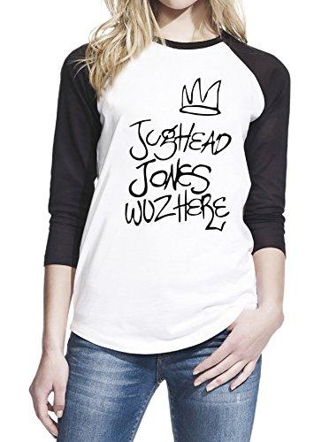 Here Womens Light T-shirt - Jughead Jones Wuz Here Teen Women Baseball T-Shirt Medium White/Black