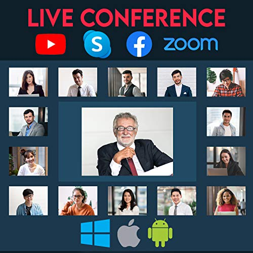 Webcam with Microphone - 30FPS 1440P Full HD USB Web Camera with Adjustable Brightness Ring Light for Zoom Skype Facetime Mac Video Conferencing Teaching Studying Streaming