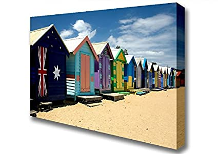 Playa bandera australiana, diseño de caseta de playa 2 lienzo Art Prints, Double XL